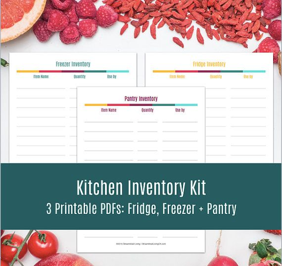 Kitchen Inventory Printable Planner Kit: Pantry Inventory, Fridge + Freezer Inventory. Organizing Printables, Planner Inserts, Planner Pages