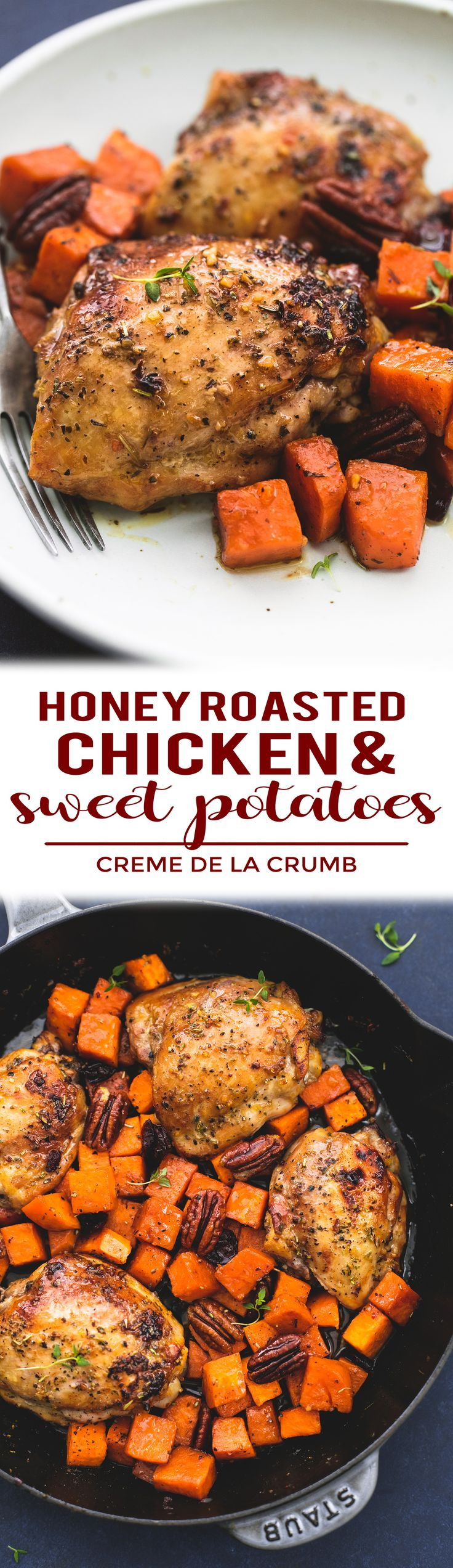This easy and simple honey roasted chicken and sweet potatoes skillet is everything you want in a hearty, comforting Fall meal. This tasty one pan meal will be ready in about 30 minutes and you will love the flavors! | lecremedelacrumb.com