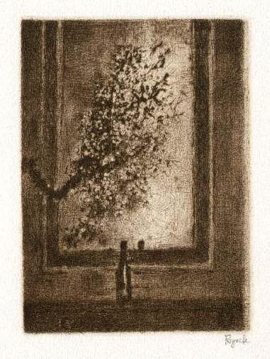 Bohuslav Reynek Trnky před zrcadlem / Sloas in front of the Mirror suchá jehla / dry point 16,9 x 12,5 cm, 1960, opus G 463