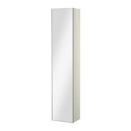 GODMORGON High cabinet with mirror door, high gloss white high gloss white 15 3/4x11 3/4x75 5/8