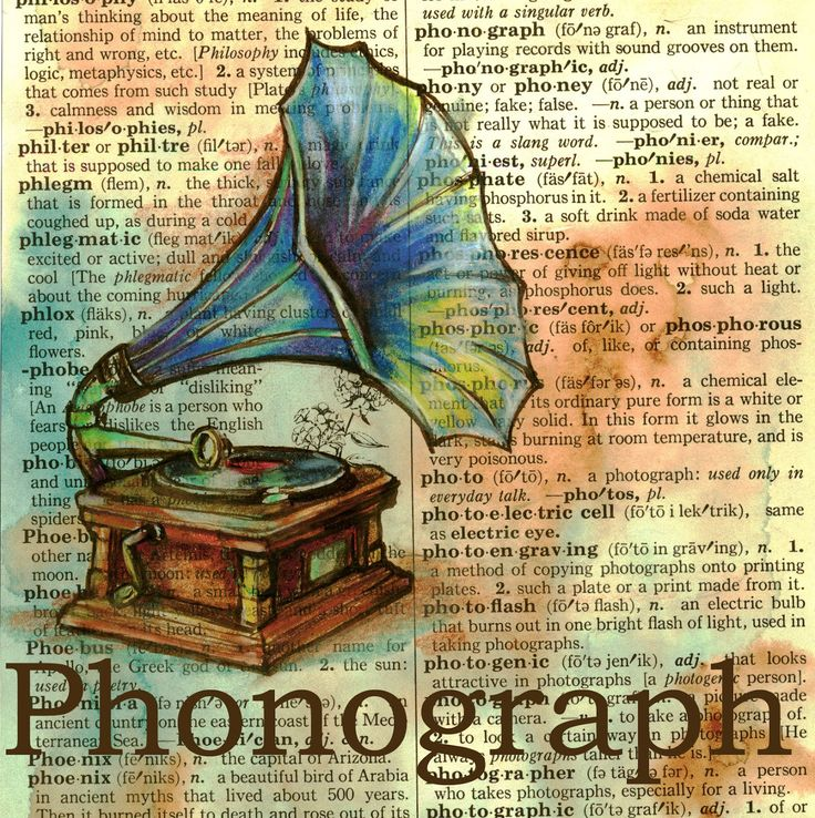 flying shoes art studio: PHONOGRAPH ON DISTRESSED, DICTIONARY PAGE
