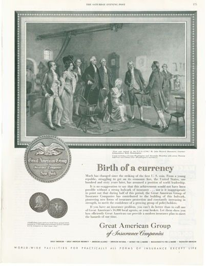 1952 Great American Group Insurance First US Coin Minting PRINT AD