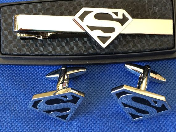 Superman Tie Clip with Matching Cufflinks
