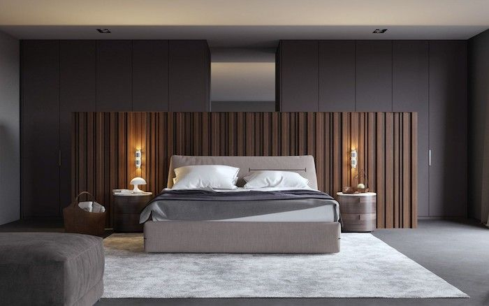 How To Decorate Your Room Grey Walls Wooden Accent White Carpet Wooden Night Stands In 2020 Luxurious Bedrooms Modern Master Bedroom Small Master Bedroom
