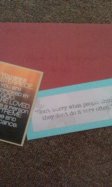 The open when pople are being mean letter included some loving/inspiring words and a chocolate for a pick-me-up :)