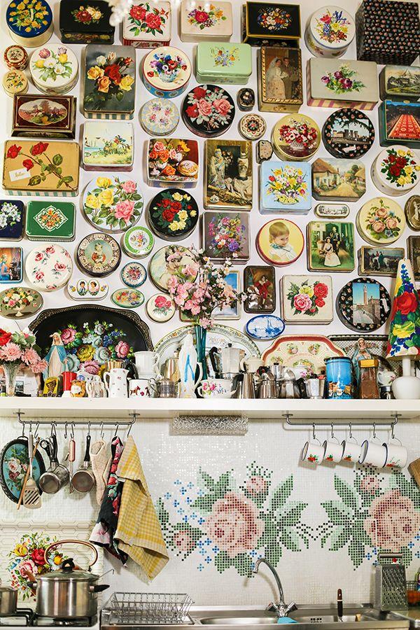 Vintage biscuit tins on the kitchen walls | Mollie Makes 63