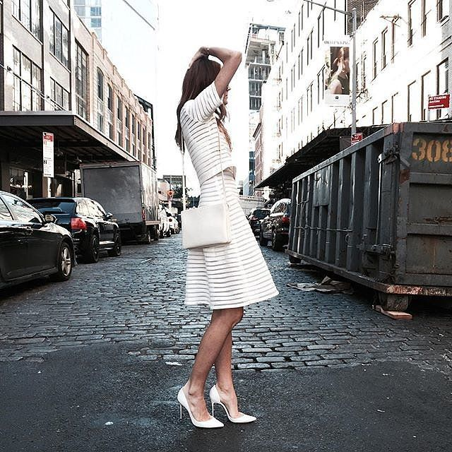 A white two-piece set with an A-line skirt