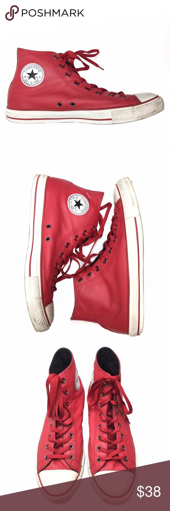 LEATHER CONVERSE HI TOP SNEAKERS!!! LEATHER CONVERSE HI TOP SNEAKERS!!! Awesome vibrant red leather Hi-top sneakers that are in EUC! Converse Shoes Sneakers