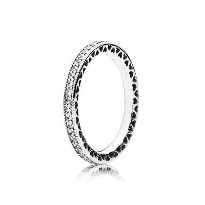 Fusing two classic PANDORA elements – delicate hearts and encrusted stones – this signature ring is a true style statement. An essential part of any ring stack, the eternity ring can be combined with virtually any stackable PANDORA ring design. #PANDORAring
