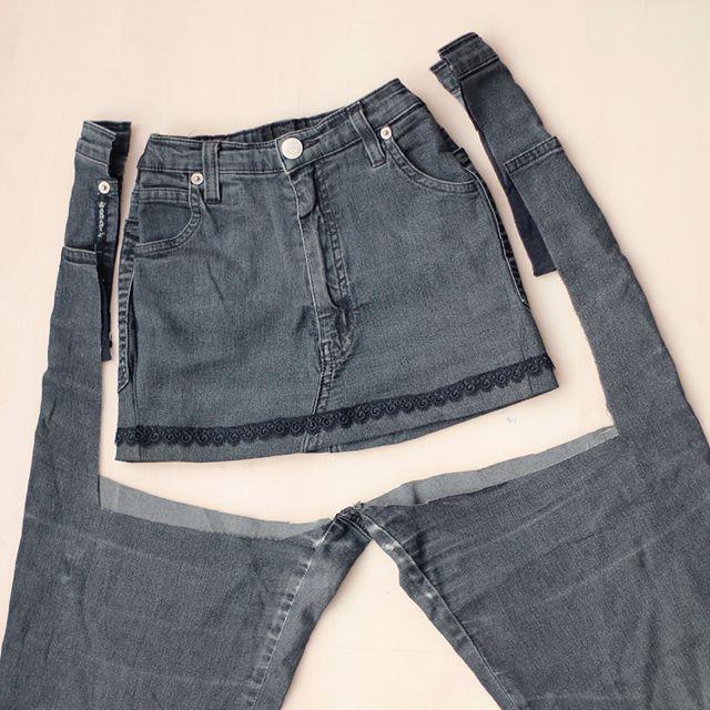 Upcyclingrock für die Tochter alter Jeans.  – Die Besten Upcycling Ideen