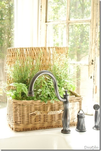 Kitchen Herb Garden in wicker basket. I love growing my own herbs so I can have them at hand when I need them, So thankful for my kitchen window <3
