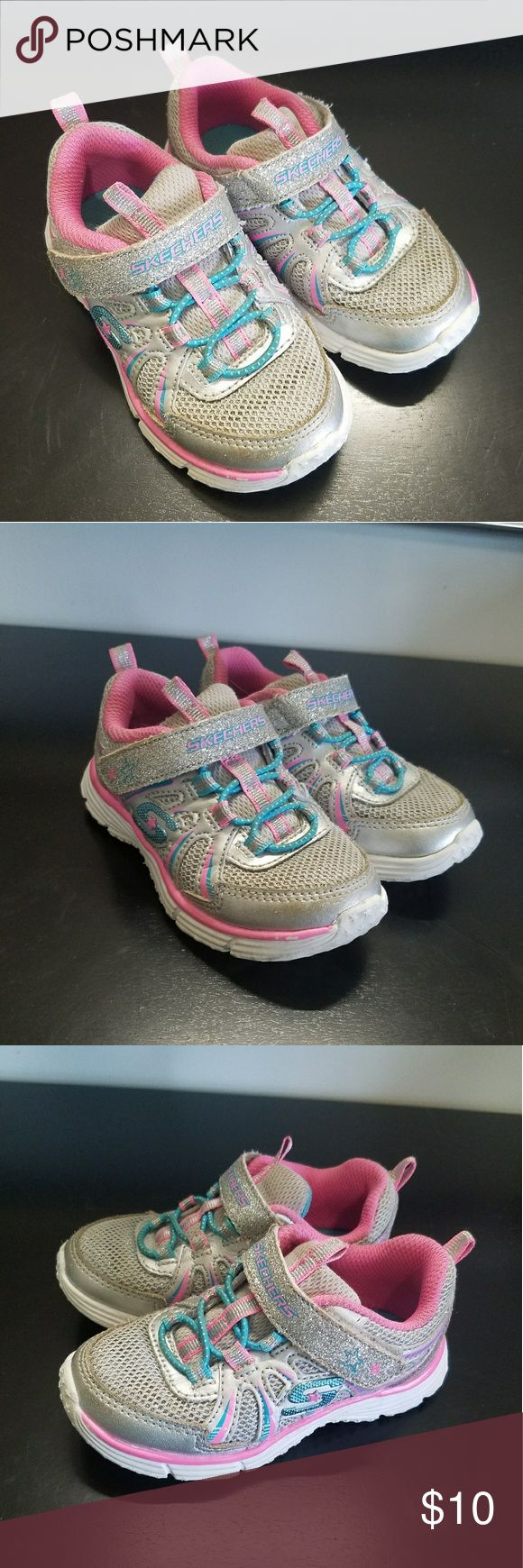 Little Girls Skechers Adorable little girls skechers. In excellent shape for a kids shoe. Pink & Teal with a little glitter here and there. Skechers Shoes Sneakers