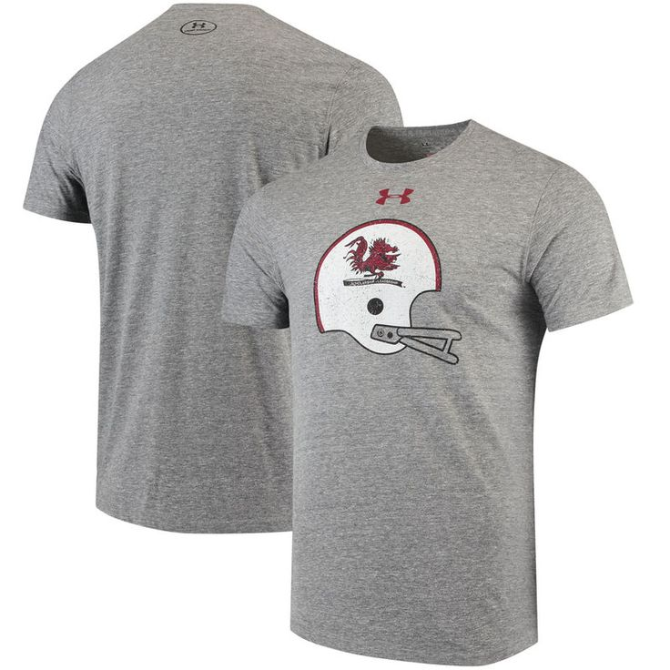 South Carolina Gamecocks Under Armour Throwback Helmet Performance Tri-Blend T-Shirt - Gray