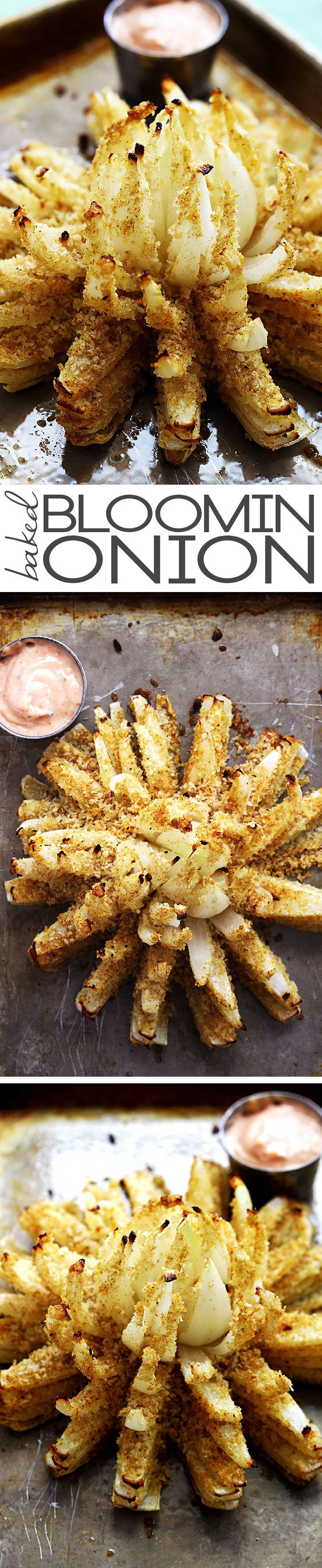crispy and spicy baked blooming onion served with a creamy greek yogurt dipping sauce #gameday #healthy #snackattack