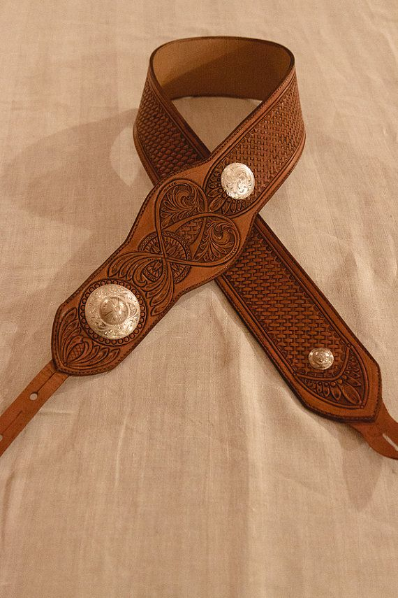 Handcarved Leather Guitar Strap by BoxBarCrossLeather on Etsy, $275.00