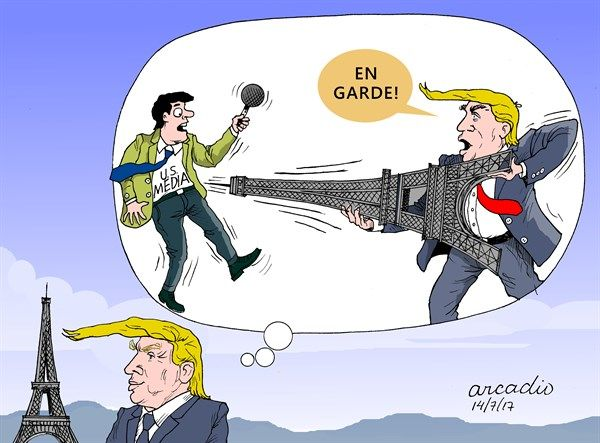 Arcadio Esquivel - Costa Rica, Caglecartoons.com - Trump Paris and the Media - English - Trump, Paris, Media, Freedom, Press, US Government, US President, White House