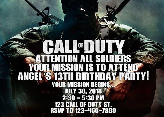 Call of Duty Invitation   Call of Duty Birthday Invitation   Call of Duty Invitation   Call of Duty Printable   Turnaround Time 12-24 hr  