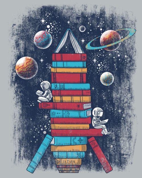 Leer, una aventura espacial (ilustración de Jorge Garza) #biblioteques_UVEG