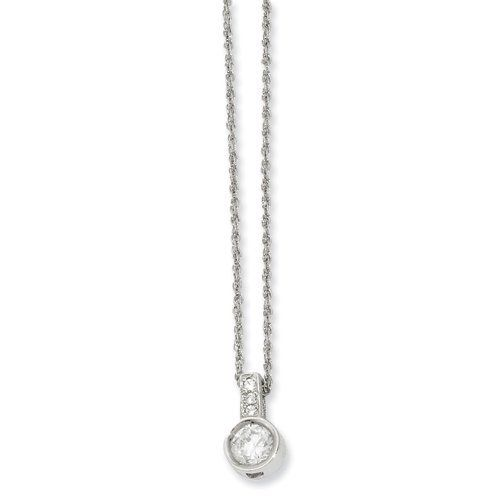 18in Rhodium-Plated Bezel Set Cz Pendant Necklace Shop4Silver. $44.00