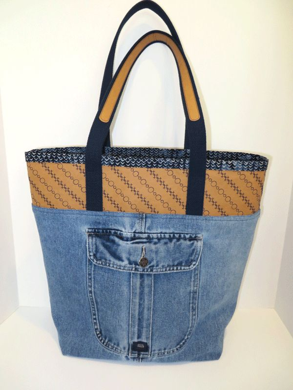 Denim tote bag with Kraft-Tex Kraft Paper Fabric