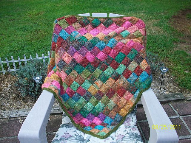 My next project  Entrelac Triangle Shawl - using Noro Silk Garden in purples.  Free pattern from Ralvery.com