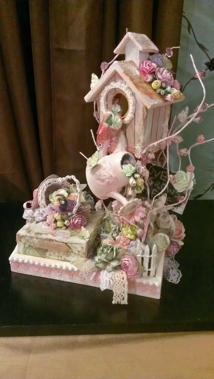 Kitty'sScrapPost: Garden Themed Bird House with Trinket Box