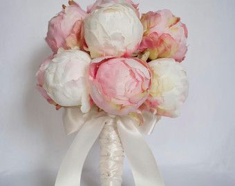Wedding Bouquet Blush Pink and Ivory Peony Wedding by KateSaidYes