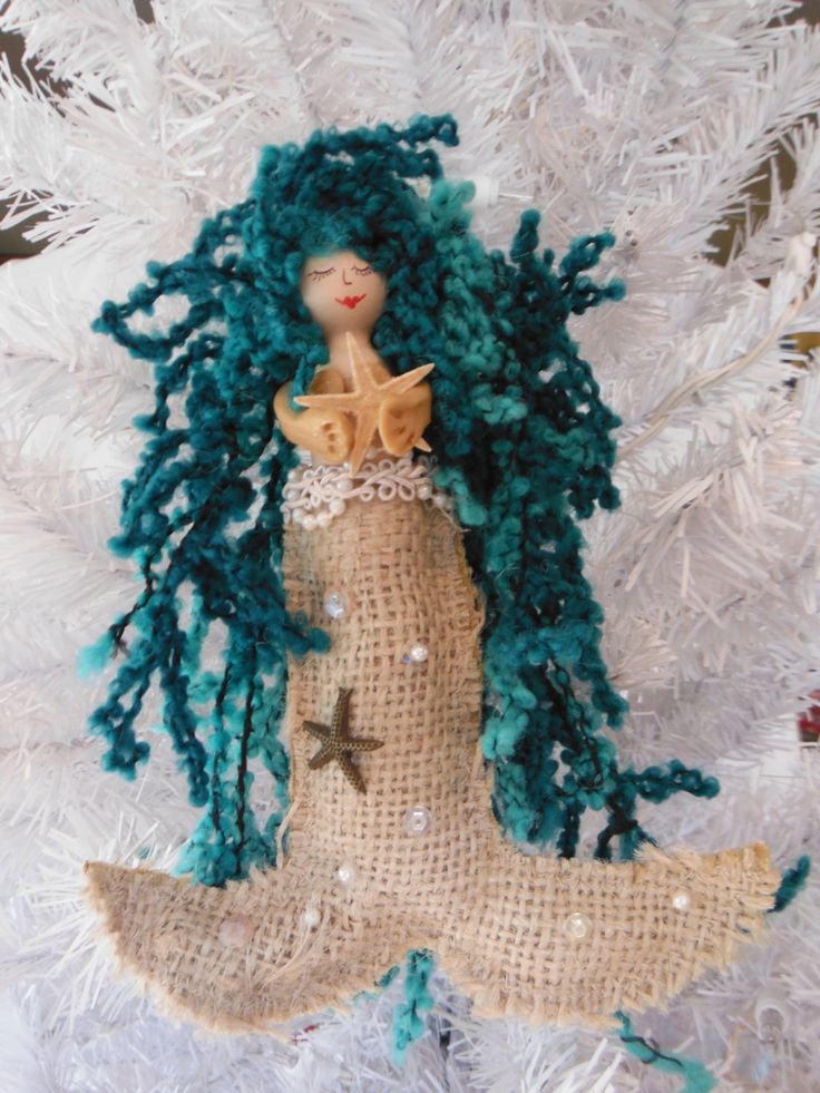 mermaid ornament, Christmas ornament, holiday gift, mermaid, nautical, mermaid decor, Christmas gift, starfish, nautical ornament by FantaSeaStudio on Etsy https://www.etsy.com/listing/479843346/mermaid-ornament-christmas-ornament