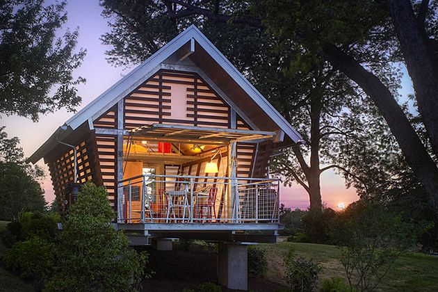 "I think I'll just put this ""tree house"" in the backyard of my #BachelorPad #UncrateGarages Doors, Cabin, Tiny House, Backyards Offices, Guest House, Trees House, Small House, Architecture, Cribs"