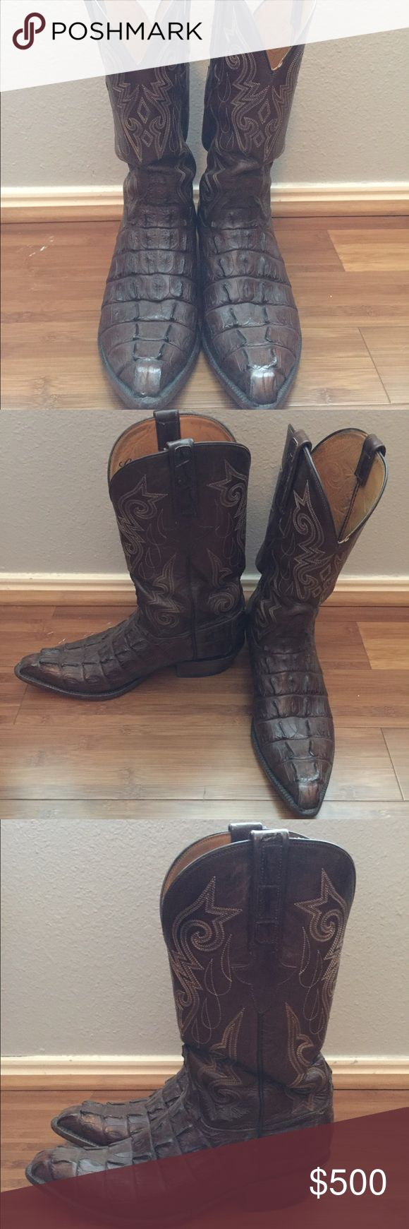 Lucchese West Nile Alligator Boots Size 8.5 B Used but still has much use left. Men's Luxury boot brand with top tier Alligator skin. Unique design. Handmade. Lucchese Shoes Cowboy & Western Boots