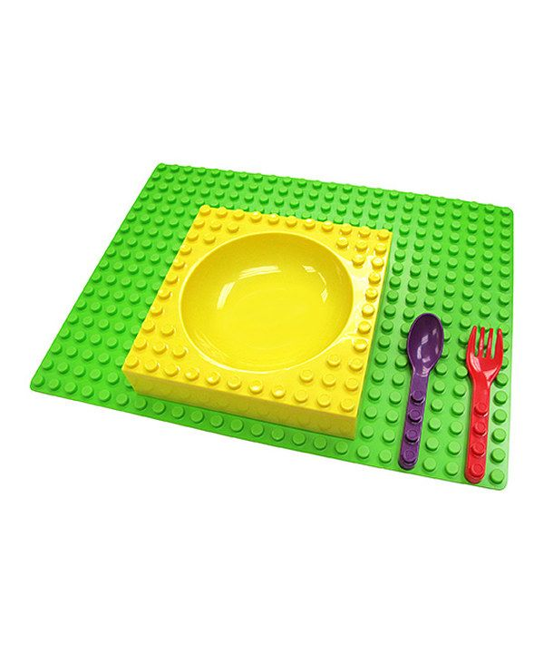 Look at this placematix Yellow & Green Four-Piece Dinner Set on #zulily today! $24.99 Super cute! #lego #placemat