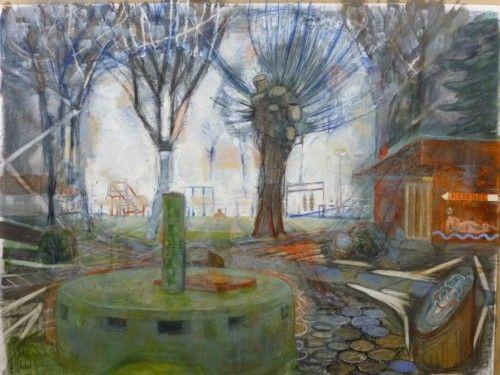 Bukta Imre: Tiszaörsfürdő 60x80, pasztell, színes ceruza, szén, akvarell papíron, 2015