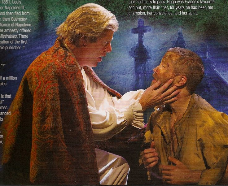 Simon Gleeson as Jean Valjean and Rodney Dubson as The Bishop,