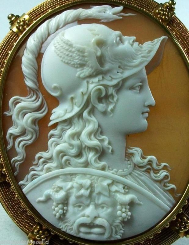 XX-Tra Fina Calidad de Museo más raros Shell Camafeo De Diosa Atena firmado tignani