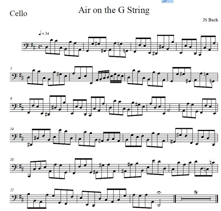 Christmas Canon Lyrics Sheet Music: Air On The G String Cello Part Www.theviolinplace.com