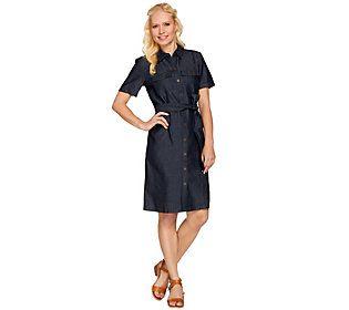 Denim & Co. Short Sleeve Denim Shirt Dress