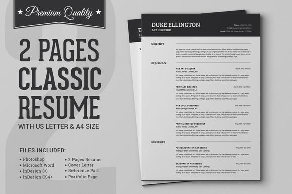 Two Pages Classic Resume CV Template by SNIPESCIENTIST on Creative Market