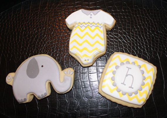 Baby Shower Cookies, Baby Shower Favors, Chevron Stripes, Elephant Cookies, Custom Cookies, Cookie Favors, Decorated Cookies on Etsy, $32.50
