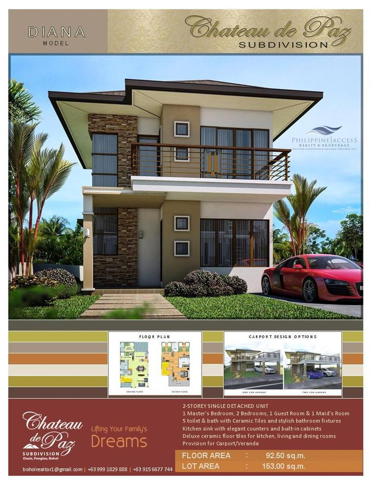 Diana Model. A Modern Asian Architectural Designed 2-storey pure single detached structure with a Master's bedroom, 2 bedrooms, 1 guest room, 1 maid's room, 5 toilet and baths and an option for a 1 or 2 car garage. Lot area is 153 sq.m. land with a floor area of 92.5 sq.m.
