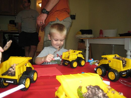 construction party -- cake served in dump trucks!