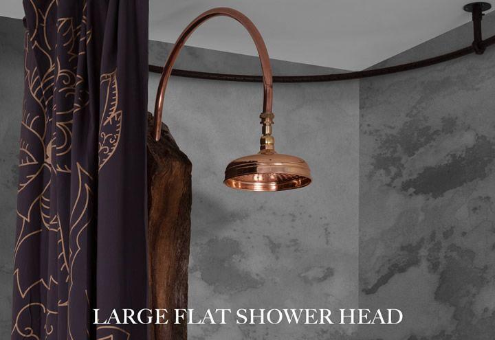 Large Flat Shower Head 205mm Diameter - Copper Finish