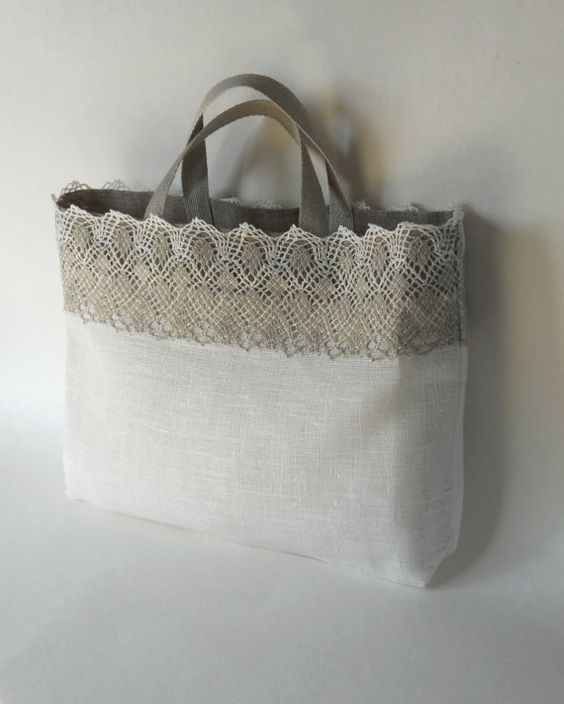 Linen tote bag ivory gray linen and lace custom made bridal tote lingerie bag bridesmaid favor bag: