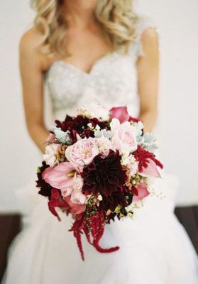 Pink and Deep Red Wedding Bouquet