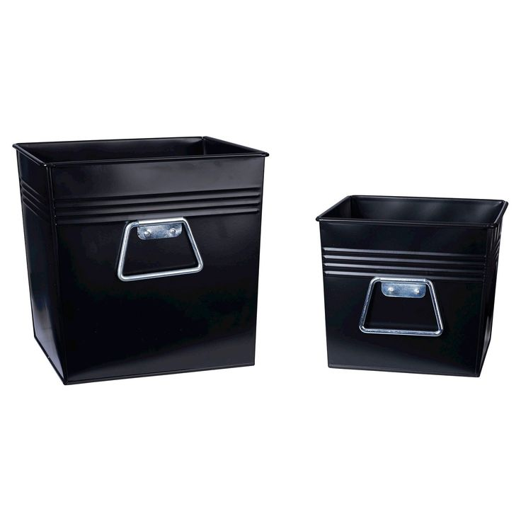 "Household Essentials' Decorative Metal Bin Set of 2 has all metal construction and tapered sides for sturdy elegance that holds up better than plastic storage totes. The set includes a small bin (7""H x 8""W x 8""D) and a mid-sized bin (10""H x 10""W x 10""D) with a flat black finish. Each bin has 2 chrome handles that are shaped for comfort. The bins have 4 decorative ridges to accent the metal construction. Perfect for home or office, these sturdy Metal Bins from..."
