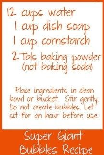 Homemade Bubbles...I imagine this recipe could be cut down by half or even down to a quarter with same results
