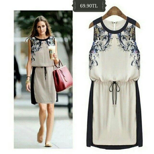 Yakası Desenli Günlük Şık Şifon #Elbise 69.90 tl
