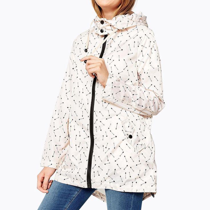 Autumn Women Fashion Arrows Print Long Sleeve Hooded Parker Coat Casual Zipper Tie Back Split Loose Coat