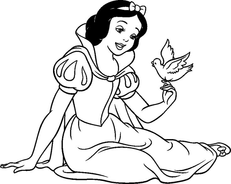 snow white coloring pages from disney princess cartoon