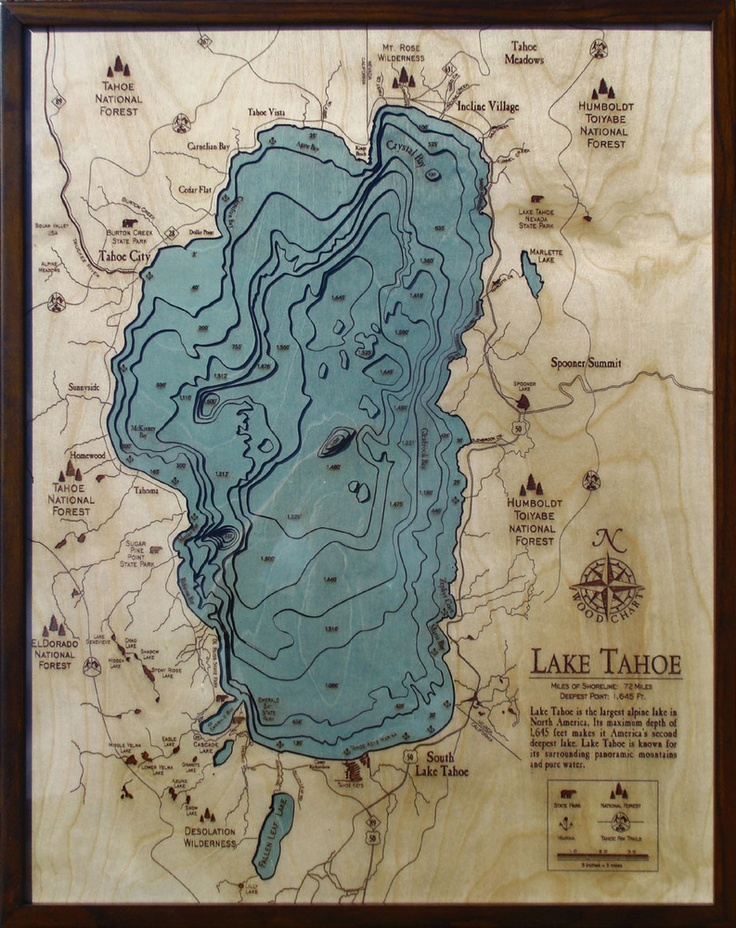 Carved wood map of topographic map of Lake Tahoe.