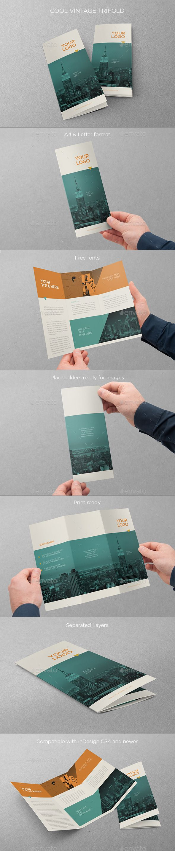 Cool Vintage Trifold Brochure Template #design #brochure Download: http://graphicriver.net/item/cool-vintage-trifold/11381311?ref=ksioks